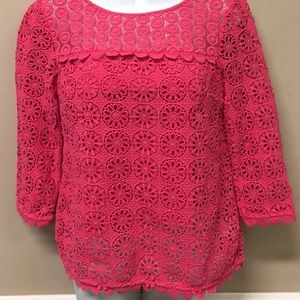 ❤️BODEN POPPY RED EYELET BLOUSE❤️COTTON LACE TOP❤️